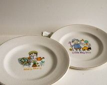 Set of two vintage childrens plates