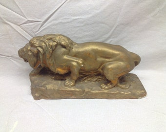 Heavy Plaster Golden Lion Paperweight Doorstop or Bookend - Lion Safari Decor
