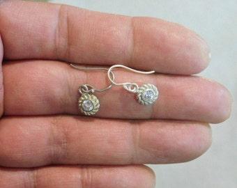Vintage Sterling Silver Crystal Earrings