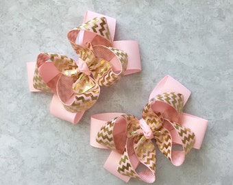 Matching gold pink hair bows-set of two gold pink bow-medium gold and pink bow-gold pink piggy tail hairbow-pair Gold and pink matching bows