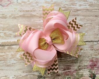 Medium gold pink hair bow-Gold and pink headband-Gold hair bow-layered over-the-top hair bow-Gold glitter hair bow-gold and pink bow