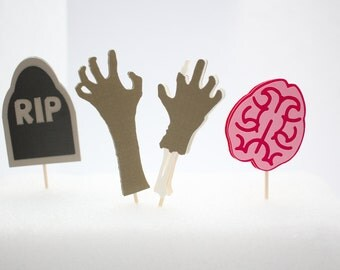 Zombie Cupcake Toppers-Zombie, Brains, and Tombstone Cupcake Toppers, Halloween Cupcake Toppers (Set of 12)