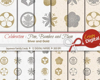 Digital Papers Japanese Crests Pines Bamboo Plum Silver Gold 12pcs 300dpi Digital Download Collage Sheets Printable Paper