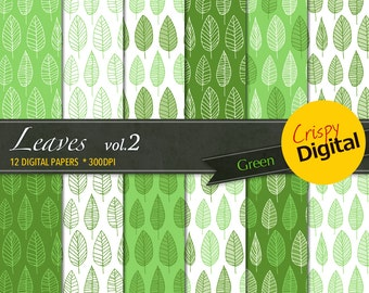 Leaves Digital Paper Printable Green 12pcs 300dpi Digital Download Scrapbooking Leaves