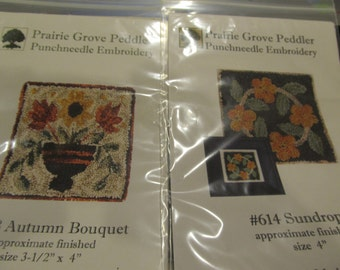 2 Prairie Grove Peddler Punch Needle Embroidery ((Autumn Bouquet & Sundrops)
