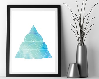 Minimalist Art, Sacred Geometry Art, Watercolor Print, Geometric Print, Mint Green, Zen Art Download, Instant Download, Printable Art