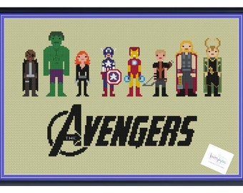 The Avengers Cross Stitch DIGITAL PDF (pattern only) Nick Fury, Hulk, Black Widow, Iron Man, Captain America, Hawkeye, Thor, Loki