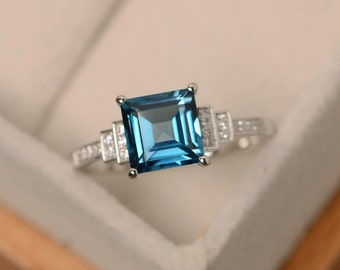 London blue topaz ring, square cut ring, sterling silver, engagement ring