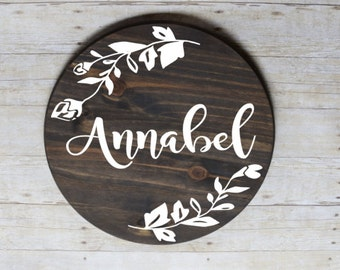 Round wood baby girl name sign, rustic nursery decor
