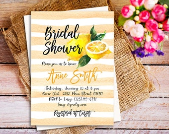 lemonade invitation, Watercolor Lemons Citrus Bridal Shower, Fresh Lemon invitation, fruit invitations, Lemon Bridal Shower invitations