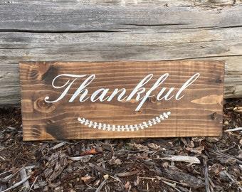 Thankful Wood Sign - Thankful Sign - Thankful Sign Small - Thankful Sign Wood - Thankful Wooden Sign - Thankful Wood Block - Fall Wood Signs