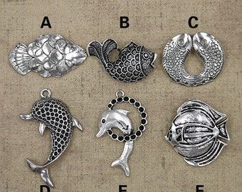 Tibet Silver Large Size Fish Charms Collection