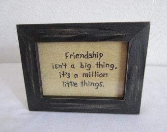 "Handcrafted Stitchery ""Friendship"" Sign"