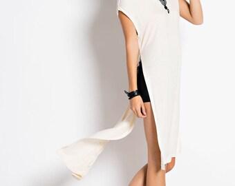 T4745 Side Slit Viscose High-Low Tee Dress