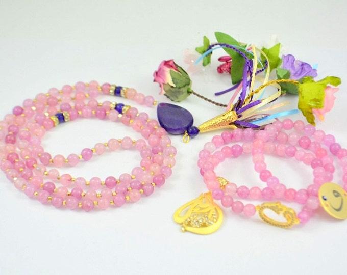 gemstone tasbah, tasbeh, masbahah, islamic mala, rosary necklace, rose pedant tasbeh misbahah, subhah tespih islamic praying beads, 99 beads