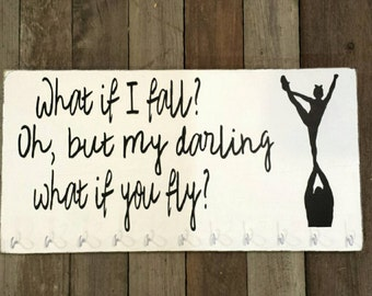 READ SHOP UPDATES Cheer Medal Holder, Cheerleader Medal Display, What if I fall Oh but my darling what if you fly, Cheerleader Medals