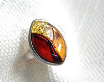 vintage cognac AMBER Stone ring ~ Silver 925 ~ Three colours stamped POLAND  ~   ~ inA1820