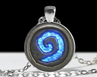 "World of Warcraft Hearthstone Necklace -  RPG, ARG, ARPG, Computer Game, Gamer Girl Gift, Punk, Dork Pride! Jewelry - 1"" Silver Pendant"