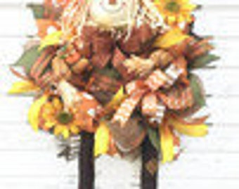 Scarecrow Wreath, Deco Mesh Scarecrow Wreath, Fall Wreath, Thanksgiving Wreath, Fall Decor, Thanksgiving Decor, Scarecrow Decorations,