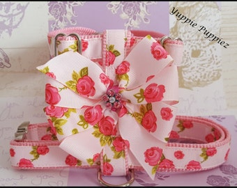 pink Rose bow dog harness