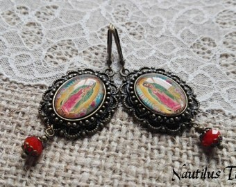 Guadalupe vintage brass earrings, Guadalupe earrings, Virgin earrings, Vintage brass earrings, Gothic earrings