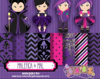 Malefica and Mal, Clipart, Digital Paper, Party Girls, Birthday