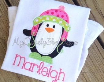 Christmas shirt, Girls penguin shirt, Boys penguin shirt, Girls Christmas shirt, Girls winter shirt, Boys Christmas shirt, penguin shirt,