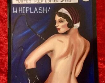 Postcard magnet burlesque retro showgirl, fetish, pinup cover art