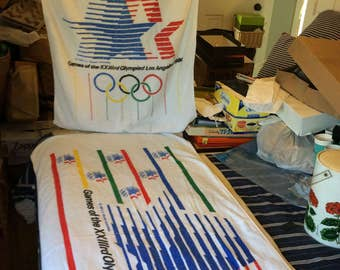 Set of Officially licensed beach towels from 1984 LA Olympic Games