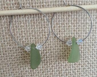 Natural Sea Green Sea Glass Hoop Earrings