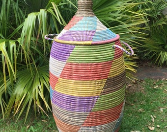 One off African Laundry Basket - Rainbow colours