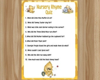 Winnie the Pooh Baby Shower Game, Winnie the Pooh Baby Shower, Classic Winnie the Pooh Game, Winnie the Pooh Game, Nursery Rhyme Quiz