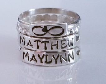 Stamped in Silver Family Name Ring Three Name Set