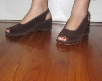 1940's  Brown suede wedge shoes/Peep-toe 1940's