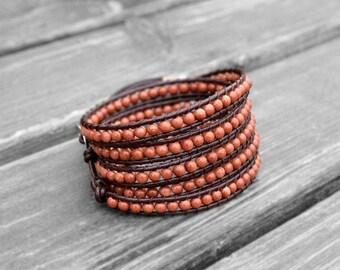 Leather Bracelet Pallisandro Classico Wrap Bracelet Beaded Bracelet Leather Wrap Bracelet 4mm Beaded Bracelet Gift for her