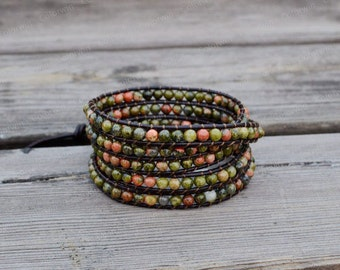 Leather Bracelet Emperor Stone Bracelet Wrap Bracelet Beaded Bracelet Leather Wrap Bracelet with Brown Leather Cord