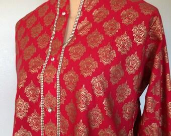 Embossed gold brocade printed Bohemian kurta with embelished trims indian kurta pakistani kurti