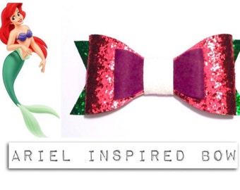 Disney The Little Mermaid Ariel Inspired Glitter Bow Hairclip