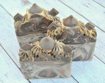 Triple Chocolate Artisan Soap Bar, Vegan Soap Bar, Cold Process Soap, Soap Bar
