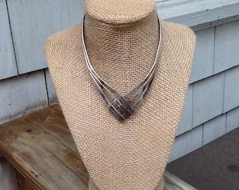 Vintage Silver Triangular Cross Metal Bib Necklace