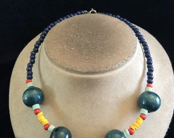 Vintage Shades Of Blue Green Yellow & Red Wooden Plastic Beaded Necklace