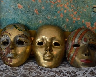 Vintage Brass and Enamel Painted Wall Hanging Mask Trio