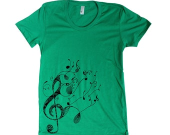 Womens Treble Clef American Apparel t shirt musical note 16 Colors available S M L XL