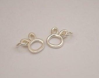 2 sterling silver rabbit charm sterling silver bunny pendant 925 sterling silver nh21
