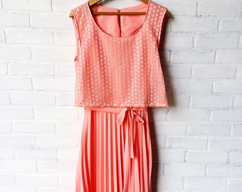 Peachy Pleated Dress