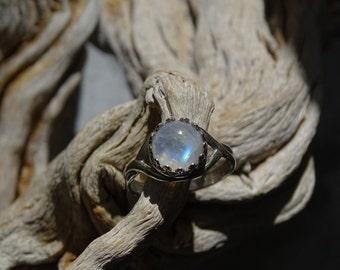 Beautiful Blue Flash Rainbow Moonstone Silver 925 Ring Size 7,Gift Ideas,Power Stone,Healing Stone, Bohemian,Tribal,レインボームーンストーン,シルバー925,リング