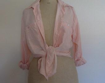 Vintage silk blouse soft pink womens shirt 90s size M