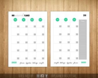 Month planner filling 2016 A5 printables