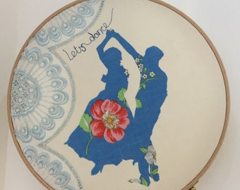 Let's dance Fabric silhouette cut-out framed in embroidery hoop