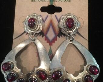 Vintage Sterling Silver  Garnet Earrings Signed B Vazzie
